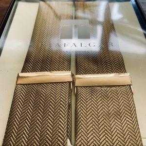 Trafalgar Accessories - Trafalgar Gold & Tan Leather/ Cloth Suspenders NWT